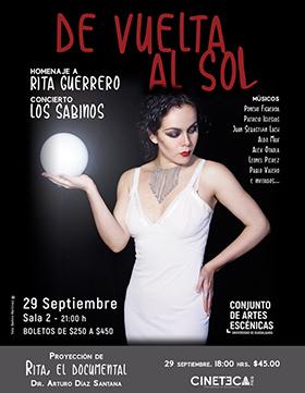 Cartel informativo sobre el Concierto: De Vuelta al Sol el 29 de septiembre, en la Sala 2 del Conjunto de Artes Escénicas