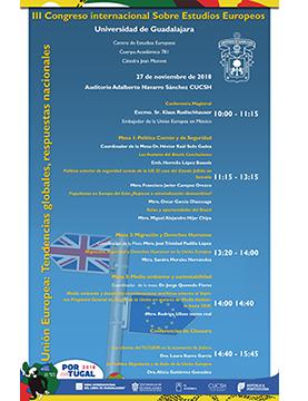 """Cartel informativo sobre el III Congreso Internacional sobre Estudios Europeos """"Unión Europea: Tendencias globales, respuestas nacionales, el 27 de noviembre, de 10:00 a 15:45 h. en el Auditorio Adalberto Navarro Sánchez, CUCSH"""