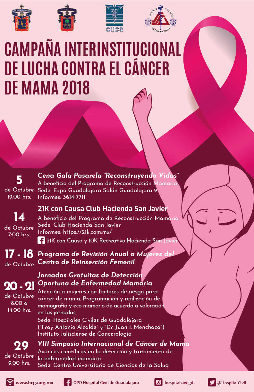 Cartel informativo sobre la Campaña Interinstitucional de Lucha contra el Cáncer de Mama 2018