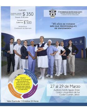 Cartel informativo de las 31 Jornadas de Enfermería 2019. A realizarse del 27 al 29 de marzo, en el auditorio Adolfo Aguilar Zinser del CUSur.