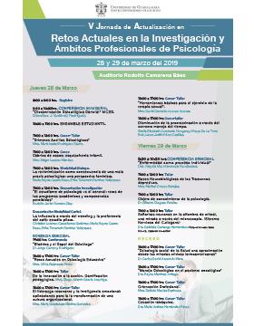 Cartel informativo de la Quinta Jornada de Actualización en Retos Actuales en la Investigación y Ámbitos Profesionales de Psicología. A realizarse el  28 y 29 de marzo, en el Auditorio Rodolfo Camarena Báez del CUAltos.