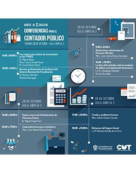 Cartel informativo sobre el V Ciclo de Conferencias para el Contador Público, el 26 de octubre, de 9:00 a 19:00 h. en el Aula amplia 2, CUTonalá