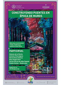 """Cartel informativo de la conferencia """"Construyendo puentes en época de muros"""" a desarrollarse el 4 de diciembre en el Auditorio del Hotel Hilton"""