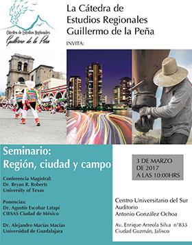 Cartel con texto de día, lugar y hora del seminario: Región, ciudad y campo, en el marco de la Cátedra de Estudios Regionales Guillermo de la Peña