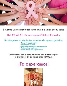 Cartel con fecha de Campaña de salud: Clínica Escuela en CUSur