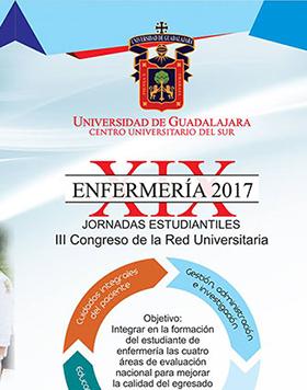 Cartel con texto informativo de la XIX Jornadas Estudiantiles de Enfermería 2017 y III Congreso de la Red Universitaria, a efectuarse en instalaciones de CUSUR y en donde se indican los objetivos que se persiguen.