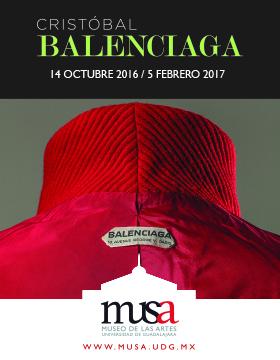 Cartel con texto de la Exposición de Cristóbal Balenciaga