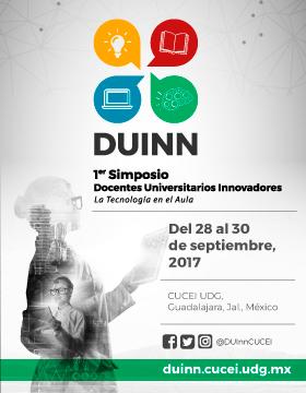 Cartel con texto informativo de DUIlN 1er. Simposio docentes universitarios innovadores la tecnología en el aula, a celebrarse del 28 al 30 de septiembre en CUCEI.