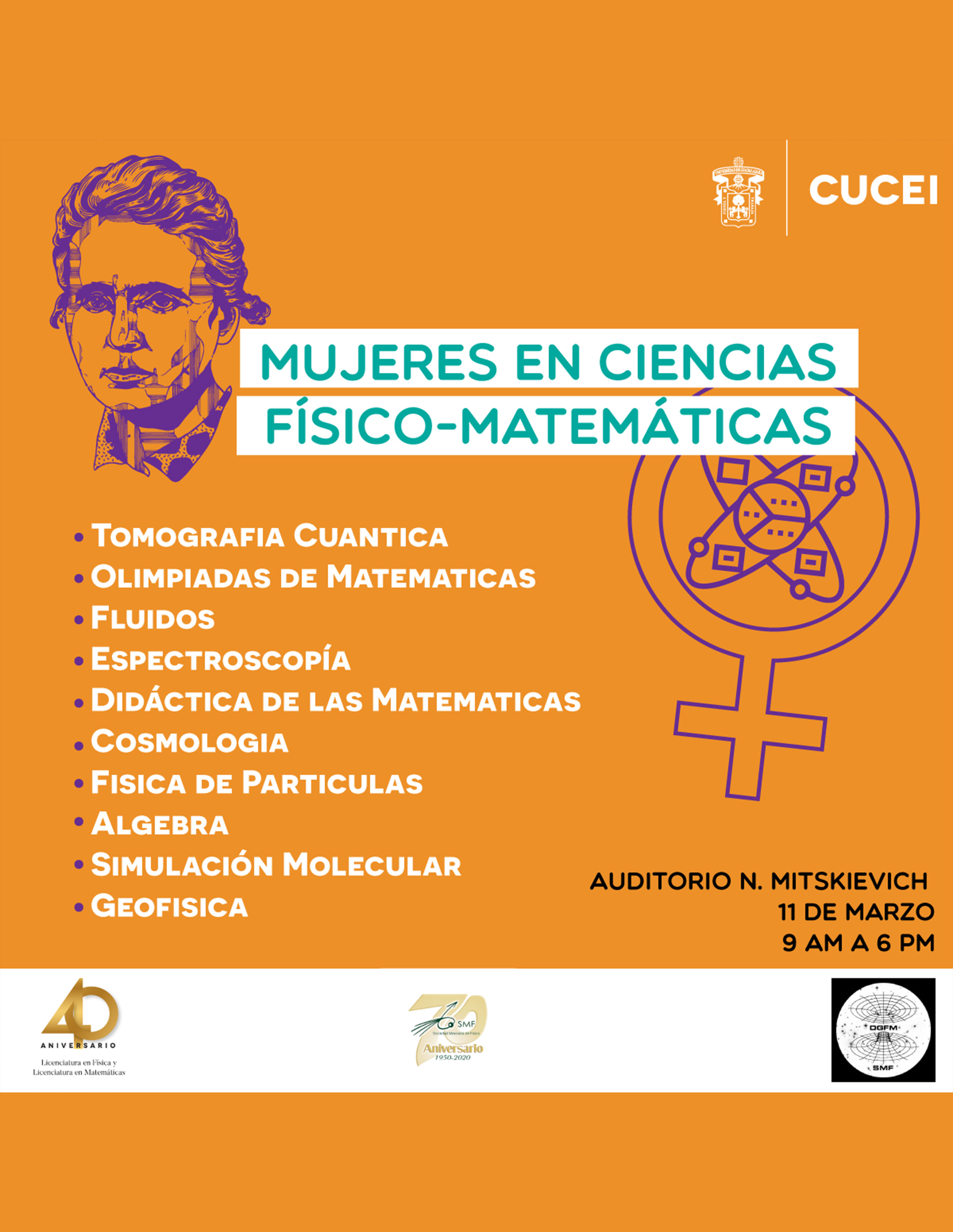 Mujeres en Ciencias Físico-Matemáticas a llevarse a cabo el 11 de marzo a las 9:00 horas.