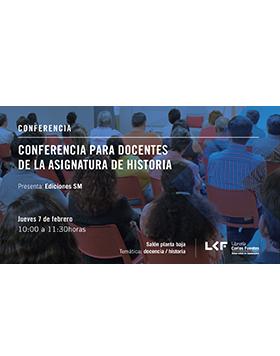 Cartel informativo sobre la Conferencia para docentes de la asignatura de historia, el 7 de febrero, de 10:00 a 11:30 h.