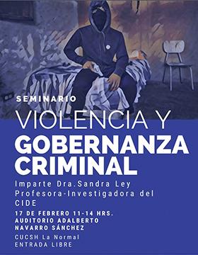 Seminario: Violencia y gobernanza criminal a llevarse a cabo el 17 de febrero de 11:00 a 14:00 horas.