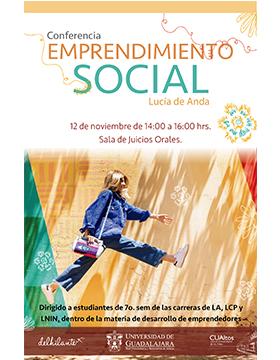 Conferencia: Emprendimiento social a llevarse a cabo el 12 de noviembre de 14:00 a 16:00 horas.