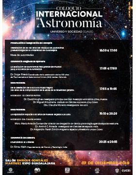 """Coloquio Internacional de Astronomía """"Universo y sociedad"""" a llevarse a cabo el 7 de diciembre de 16:30 a 20:55 horas."""