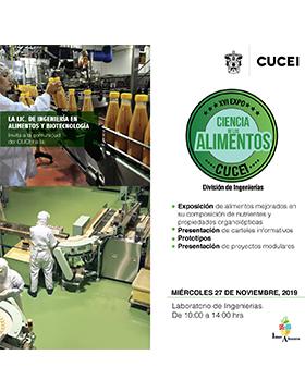 XVI Expo Ciencia de los Alimentos a llevarse a cabo el 27 de noviembre de  10:00 a 14:00 horas.