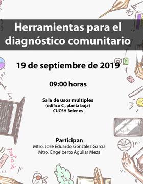 Cartel informativo para promocionar el Conversatorio Herramientas para el diagnóstico comunitario