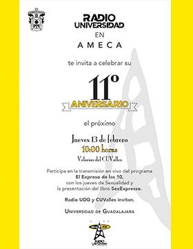 Décimo Aniversario de Radio Universidad en Ameca a llevarse a cabo el 13 de febrero a las 10:00 horas.
