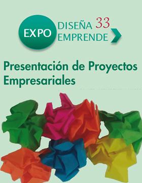 Cartel de invitación a la Expo Diseña Emprende. Donde habrá presentación de Proyectos Empresariales, despega tus ideas y emprende. Evento a realizarse el 14 de noviembre a las 10:00 horas en el CUAAD.