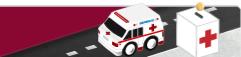 Ilustración con una ambulancia de la Cruz Roja