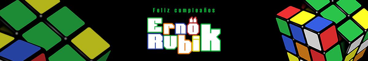 Ilustración alusiva al creador del Cubo Rubik, deseandole feliz cumpleaños