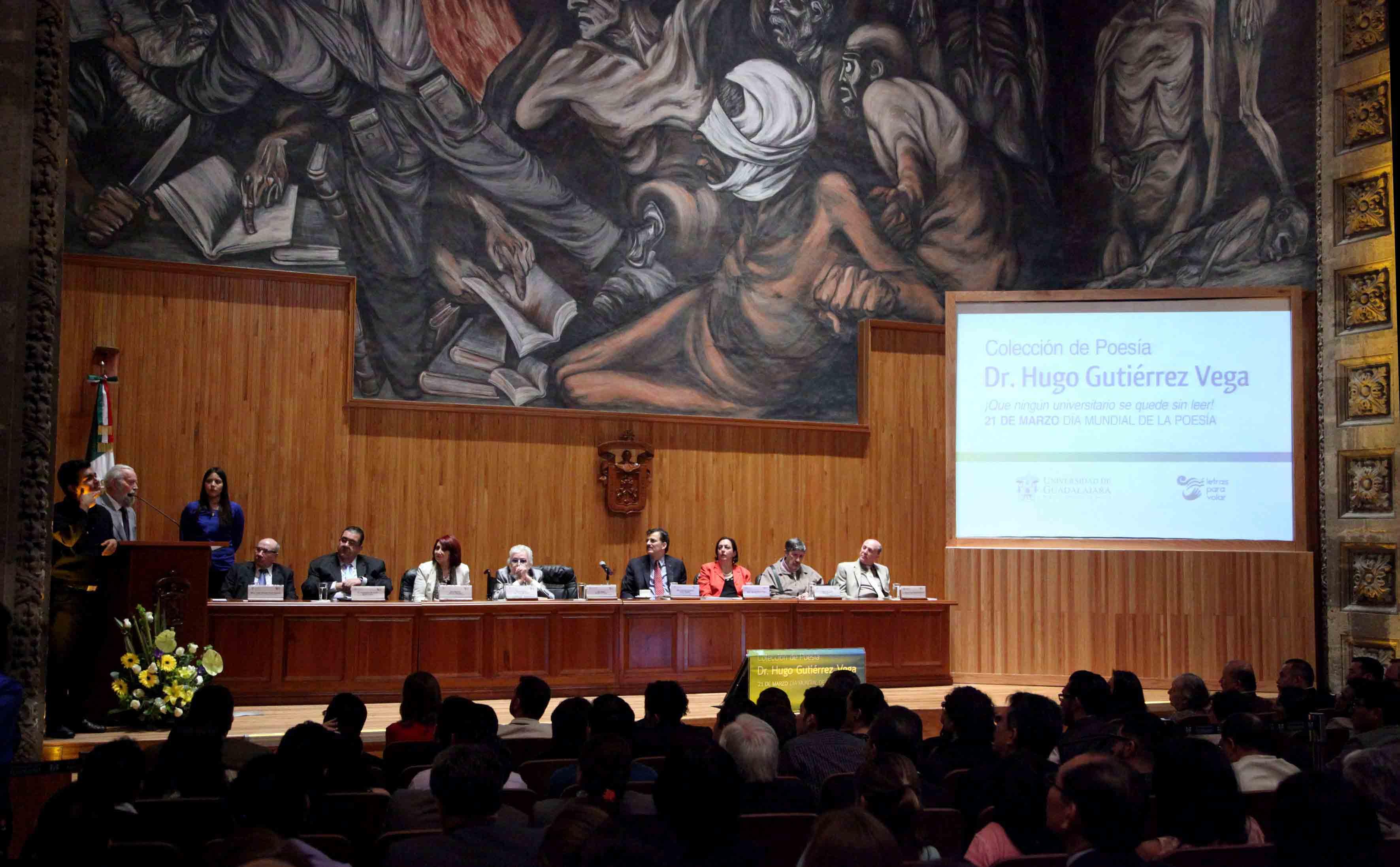 Presentación de la Colección de poesía del Dr. Hugo Gutiérrez Vega, en el Paraninfo Enrique Díaz de León.