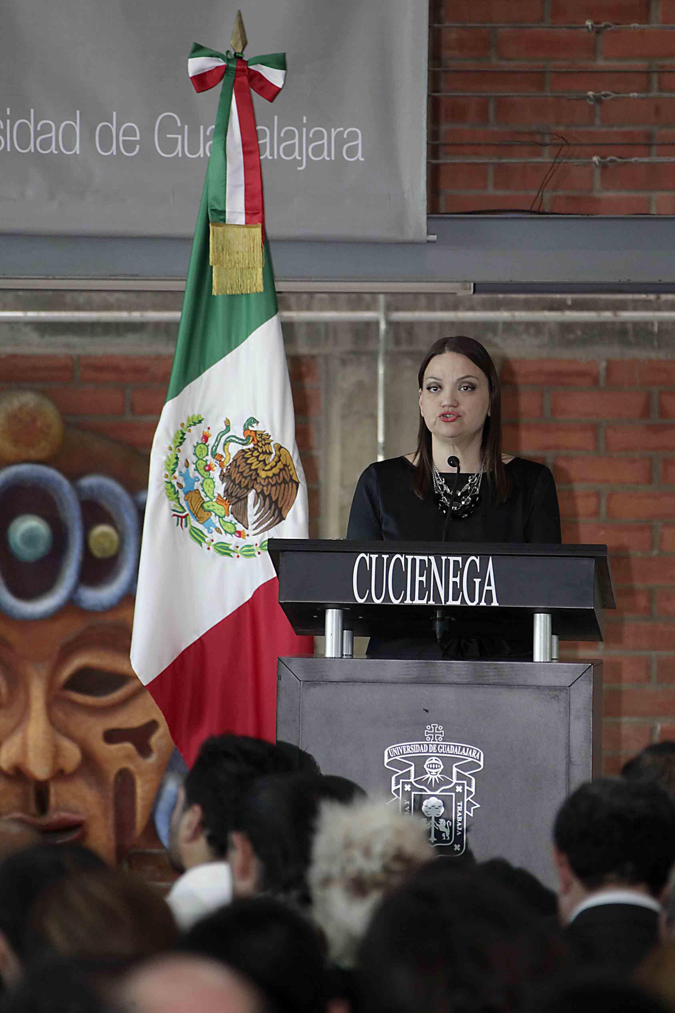 Apertura del segundo informe de actividades 2014-2015, por parte de la maestra María Felícitas Parga Jiménez, Rectora del Centro Universitario de la Ciénega (CUCiénega).