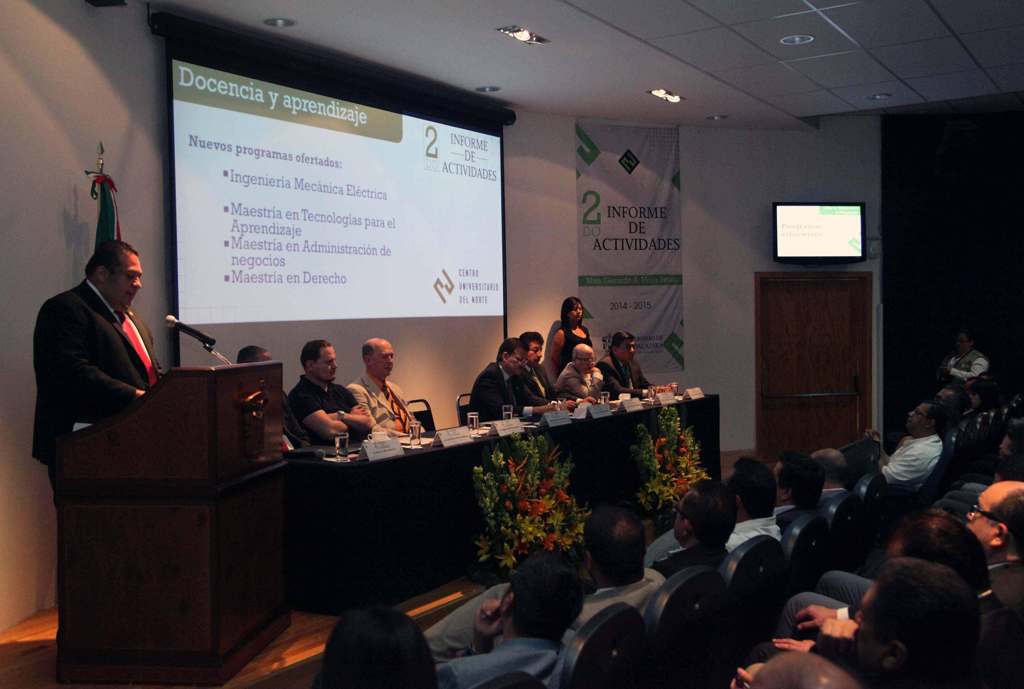 Inagruación del segundo informe de actividades del maestro Gerardo Alberto Mejía Pérez, Rector de CUNorte.
