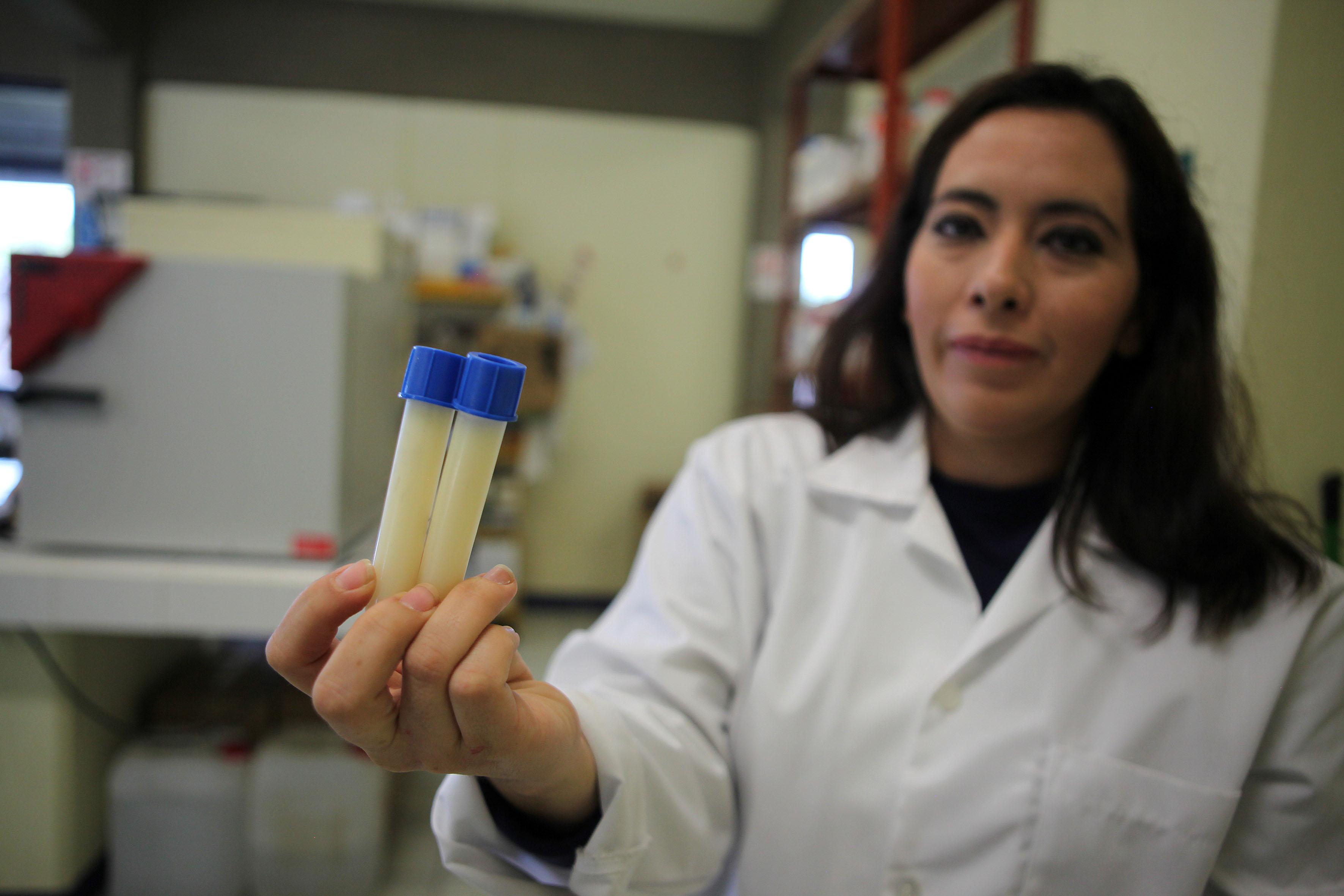 Mujer con dos tubos de ensaye con muestras de leche