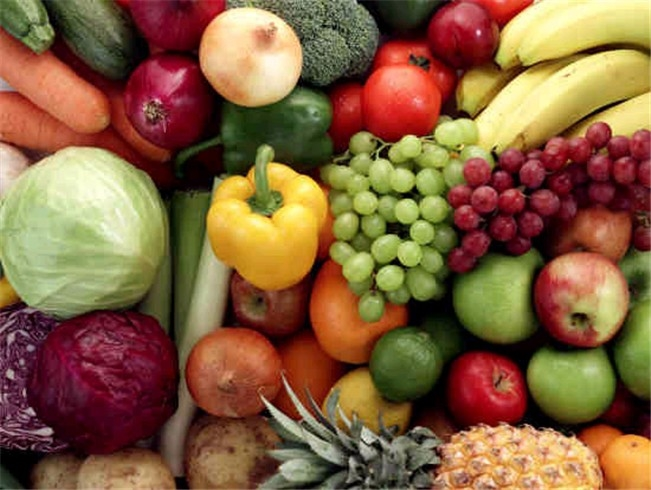 Diferentes variedades de frutas y vegetales