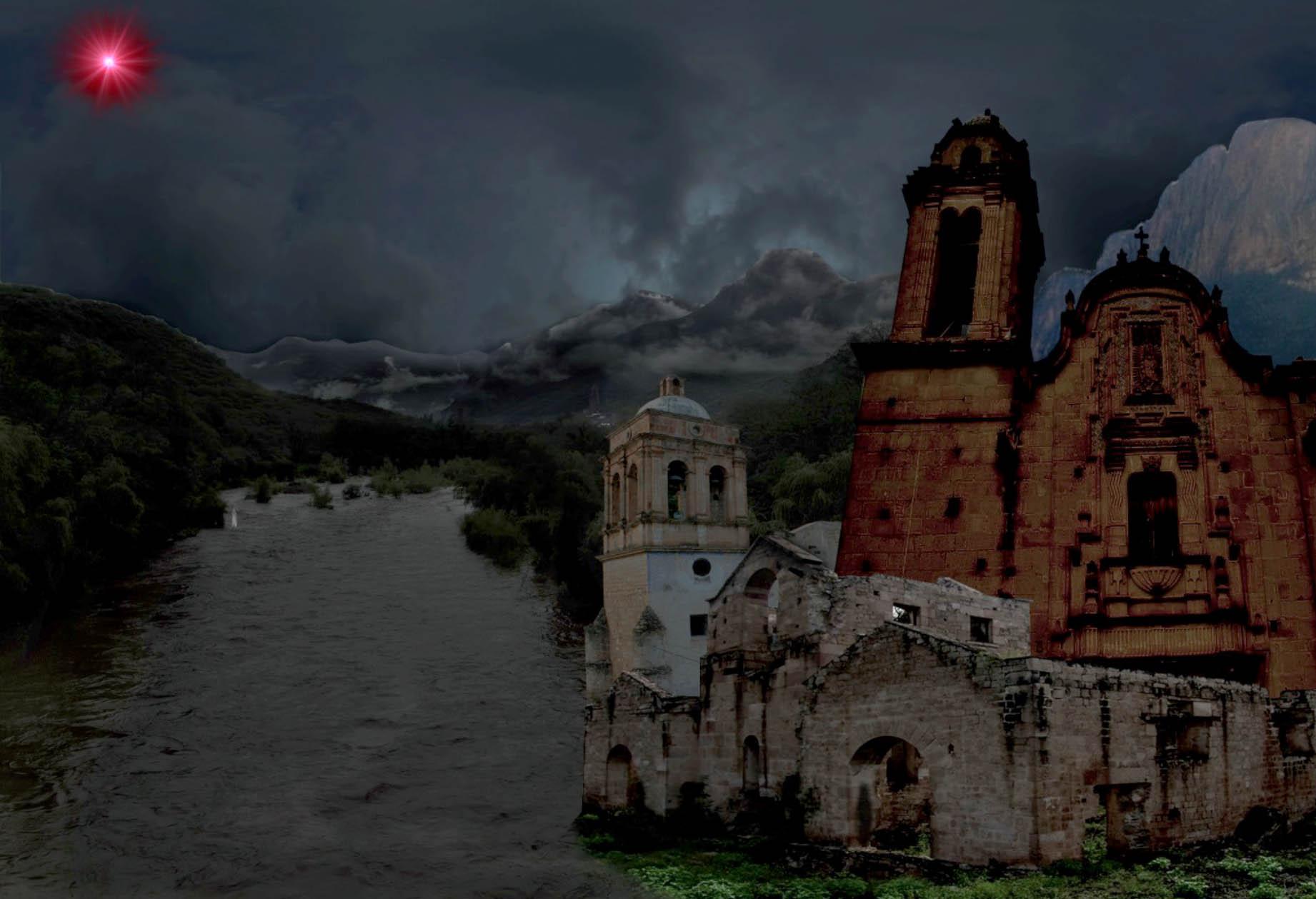Fotomontaje tenebroso, hacienda y templo viejo, arrollo, nubles y luna roja.