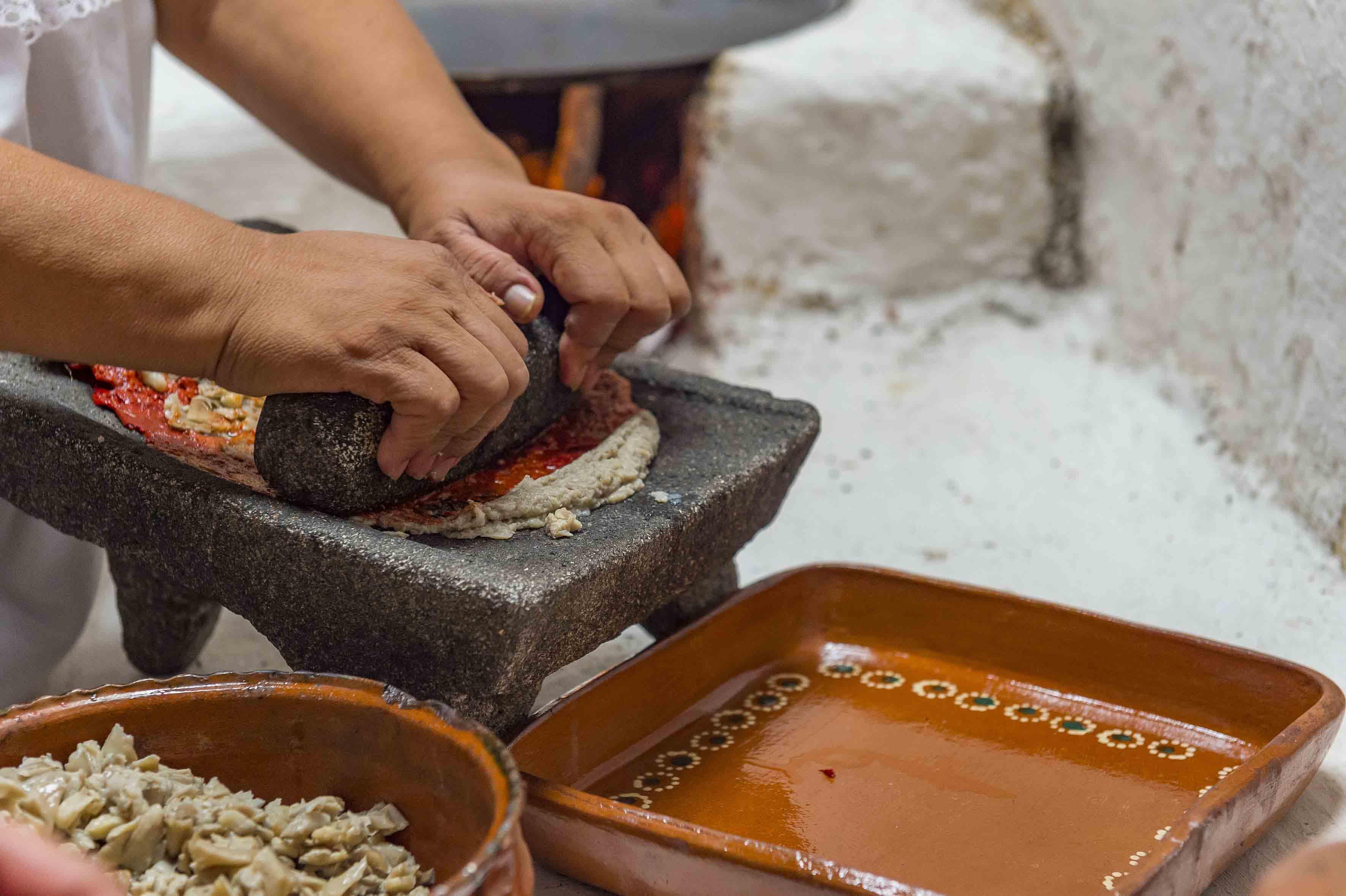 Mujer de la región, elaborando platillos en el metate, con diferentes especies de hongos.