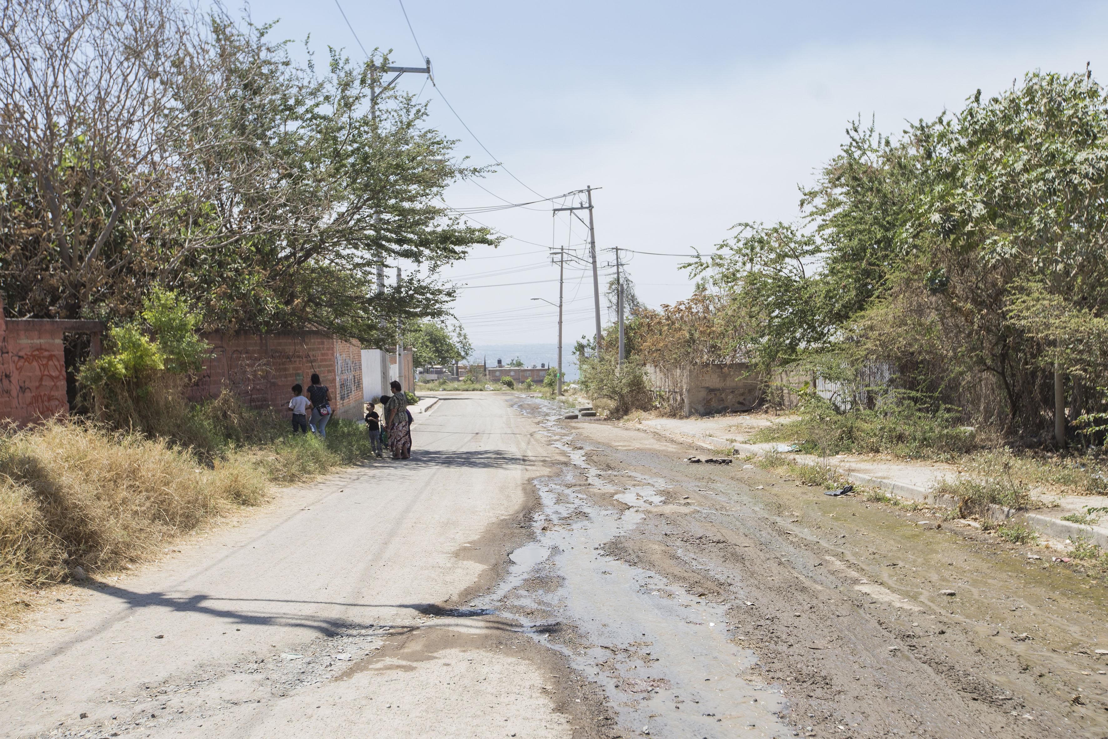 Calle de colonias marginadas de la Zona Metropolitana de Guadalajara (ZMG)