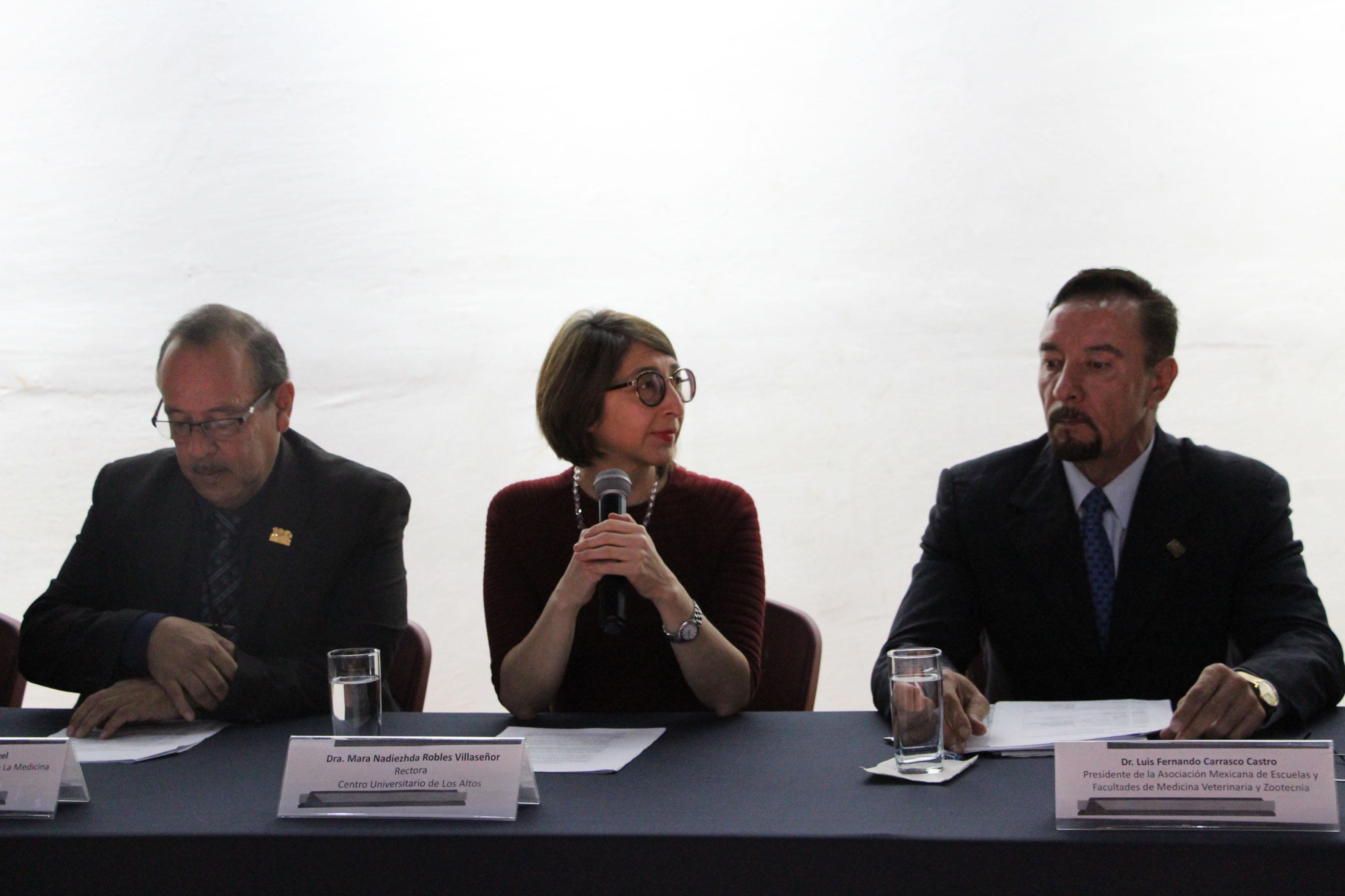 Rectora del CUAltos, doctora Mara Robles Villaseñor, con micrófono en mano, haciendo uso de la palabra, durante reunión sostenida.