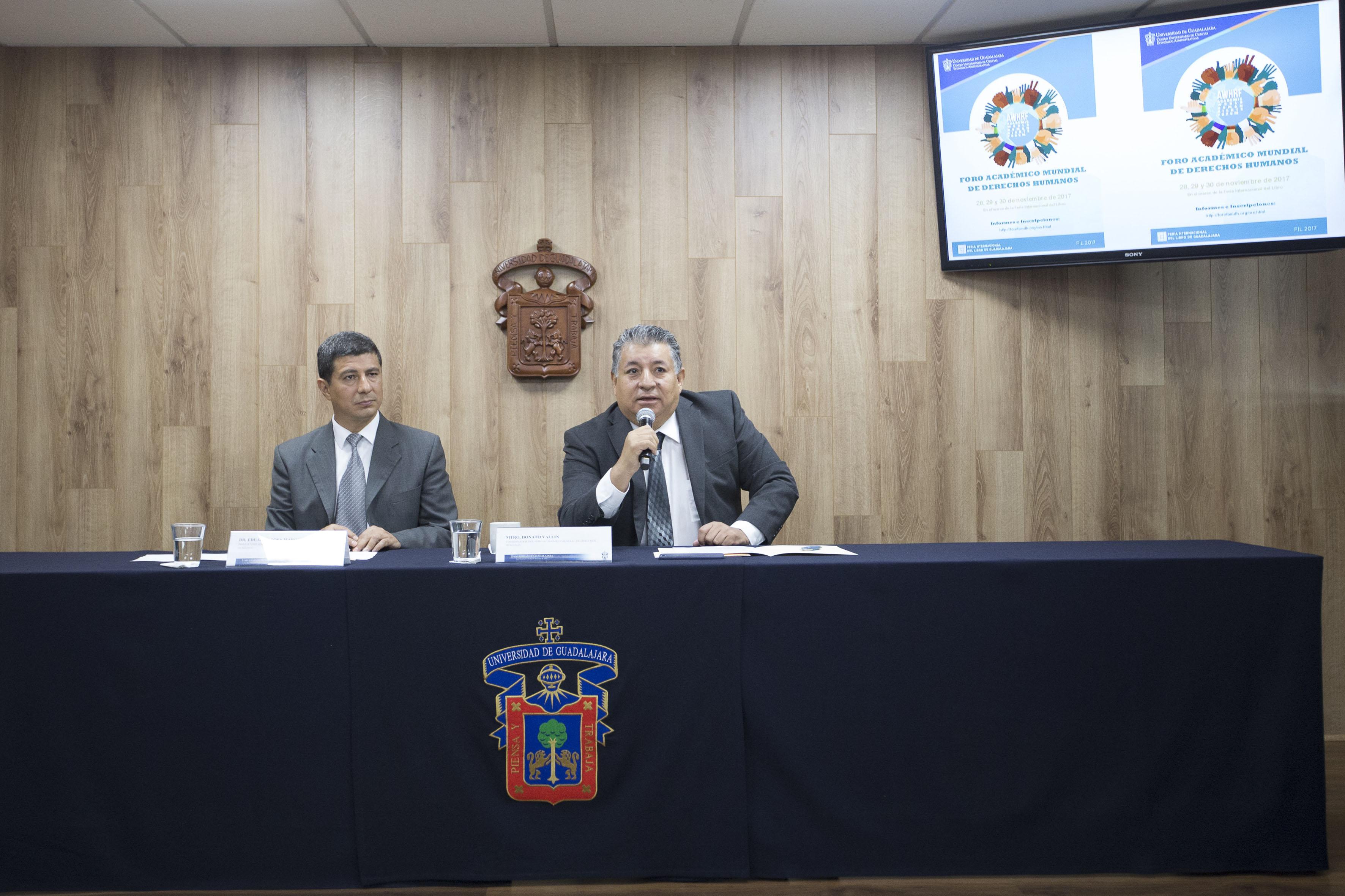 Rueda de prensa para anunciar que el CUCEA y CEDHJ organizarán Foro Académico Mundial de  Derechos Humanos