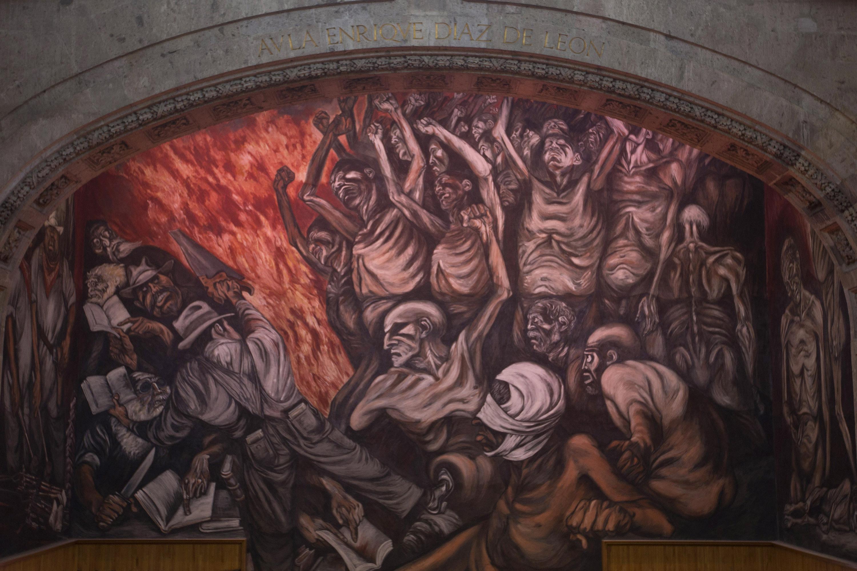 Mural del artista jalisciense José Clemente Orozco, en el Museo de las Artes (MUSA) de la Universidad de Guadalajara.