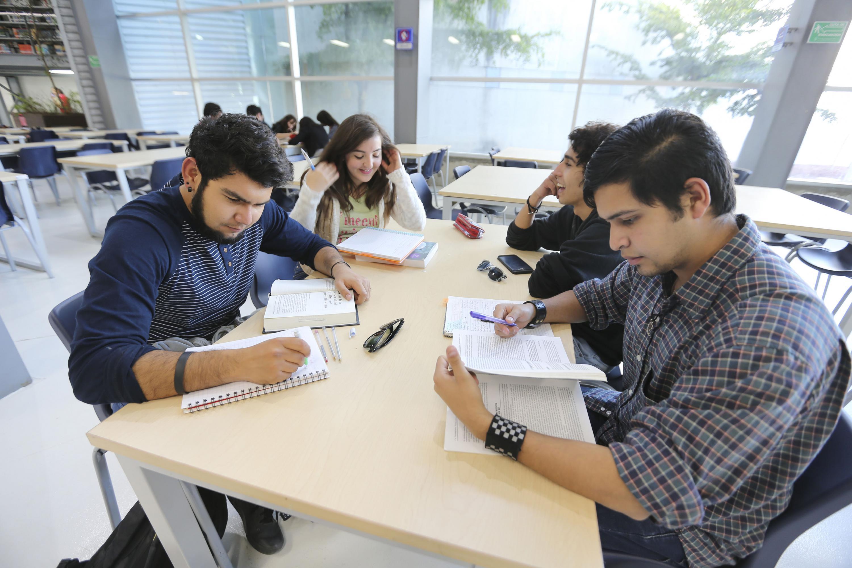 Cuatro alumnos de la Universidad de Guadalajara, estudiando en una biblioteca.
