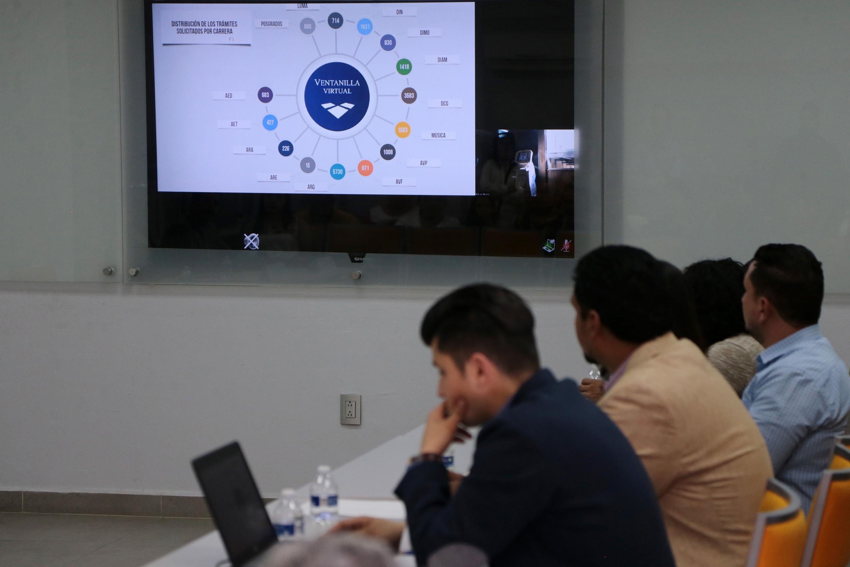 Invitados de la sesión al interior del CUAAD, observando en la pantalla la distribución de tramites solicitados por carrera de la ventanilla virtual.