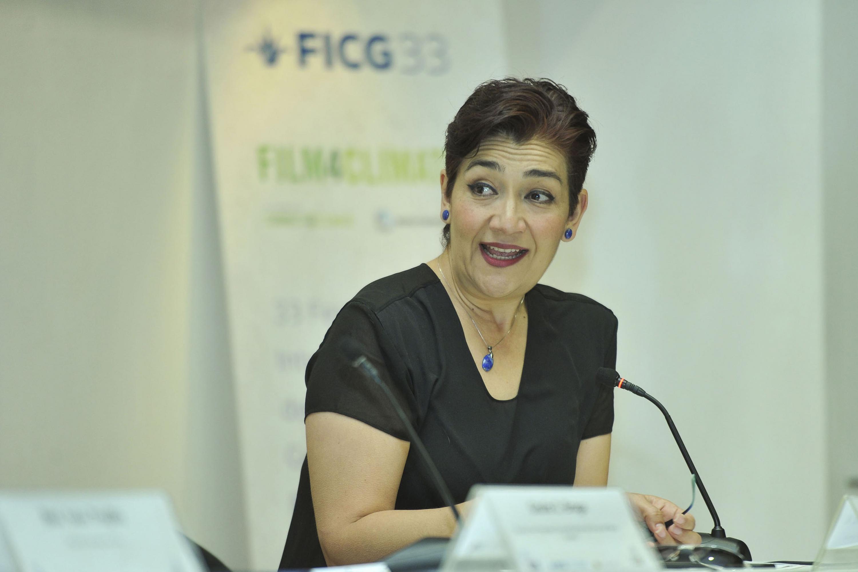 """Ingeniera Maria Magdalena Ruiz M, haciendo uso de la palabra durante la Conferencia """"El papel de las emociones y las sensaciones para revertir el periodo ambiental"""""""