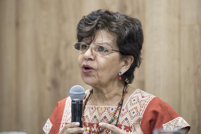 Doctora Patricia Torres haciendo uso de la palabra en rueda de prensa