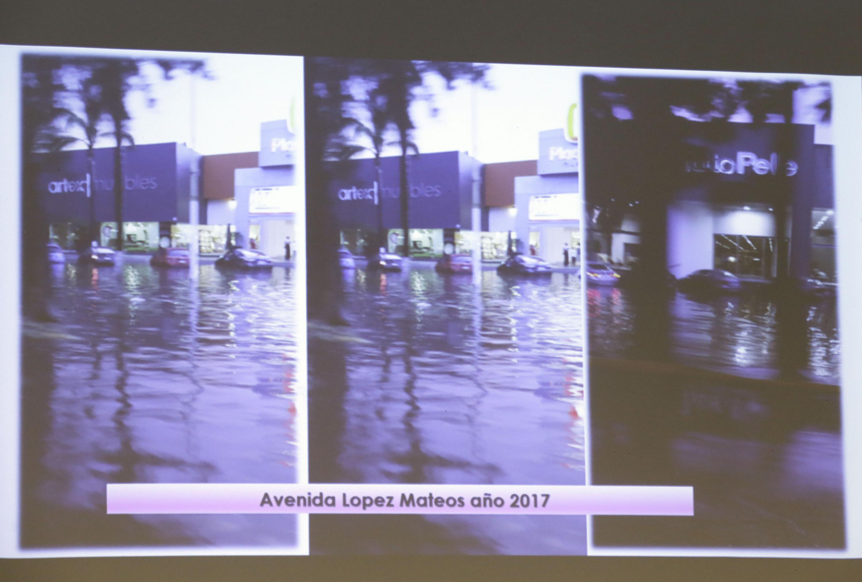 Presentación digital motrando los niveles de inundación de la Avenida Lopez Mateos en el año 2017