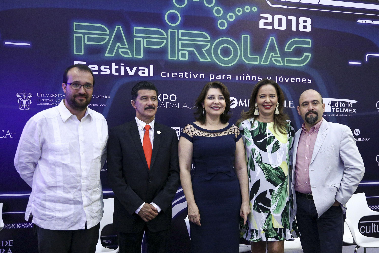 Presidentes de la Conferencia de prensa del Festival Papirolas 2018.