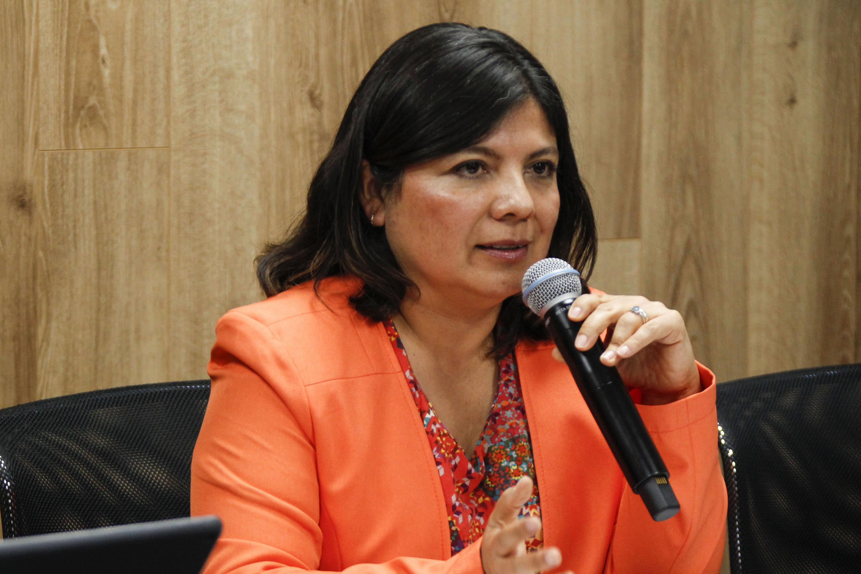 Doctora Egla Yareth Vivian Castro, Directora de la División de Estudios de la Biodiversidad y la Innovación Tecnológica del CULagos, participando en rueda de prensa.