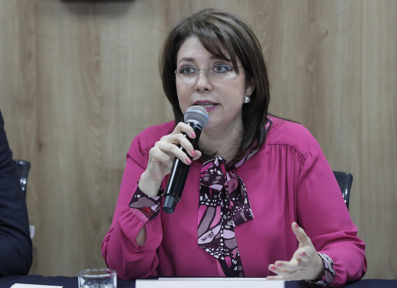 Vicerrectora Ejecutiva de la UdeG, doctora Carmen Enedina Rodríguez Armenta, hablando frente al micrófono durante rueda de prensa