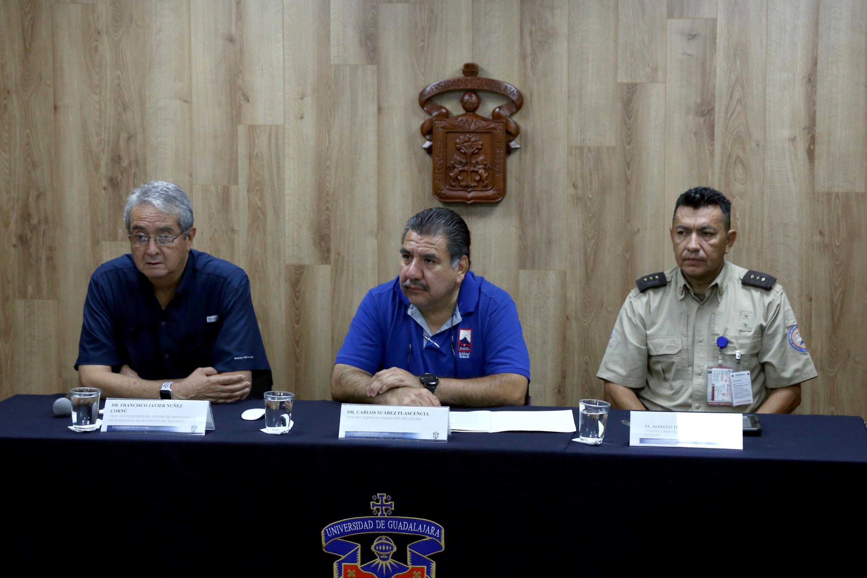 Rueda de prensa para dar a conocer que a corto plazo no hay riesgos en volcanes de Jalisco, Colima y Nayarit