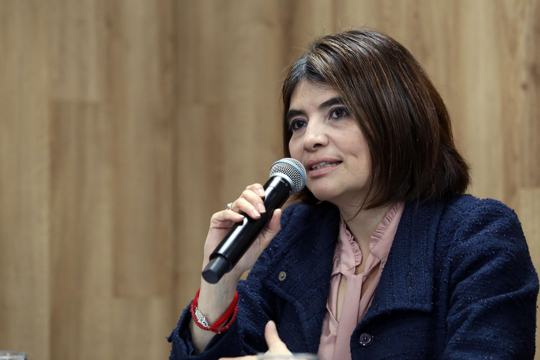 Coordinadora de la Maestría en Desarrollo y Dirección de la Innovación de UDGVirtual, doctora Adriana Ávila Moreno, participando en la rueda de prensa