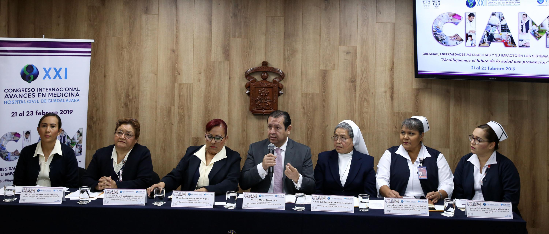 Rueda de prensa para anunciar que el CIENF forma parte de las actividades de vigésimo primer Congreso Internacional Avances en Medicina (CIAM) 2019, organizado por el Hospital Civil de Guadalajara (HCG)