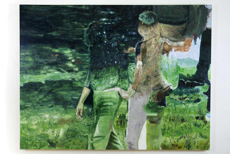 Obra: Figuras sobre paisaje, pintura ganadora en la Bienal de Pintura José Atanasio Monroy.