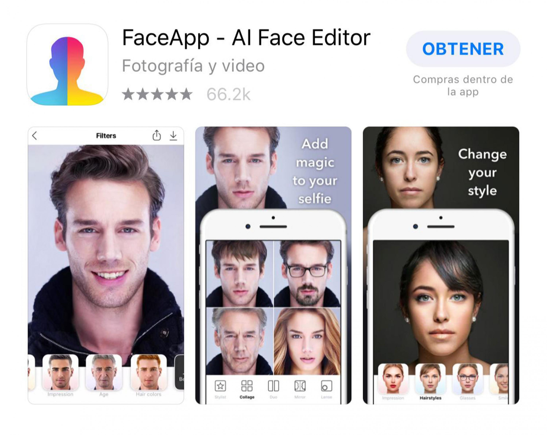 Captura de pantalla de la aplicación FaceApp