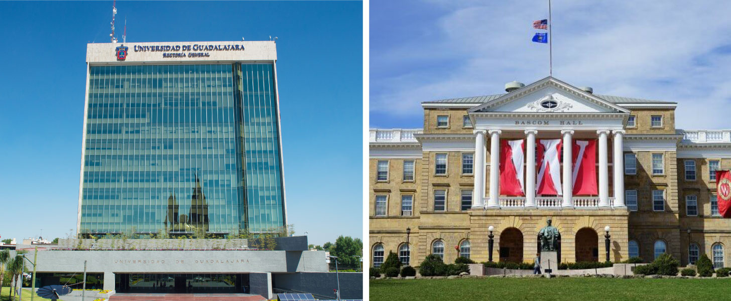 Fachas de la de los edificios de la Universidad de Guadalajara (UdeG), y de la Universidad de Wisconsin