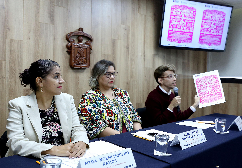 Académicos universitarios en rueda de prensa para anunciar la Jornada Cultural Incluyente UDGVirtual