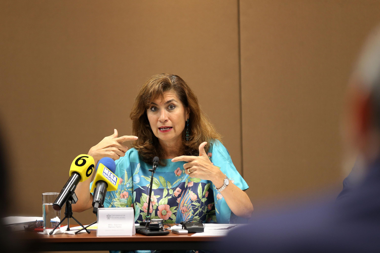 La Directora de la OCDE y Sherpa, Gabriela Ramos, en uso de la palabra